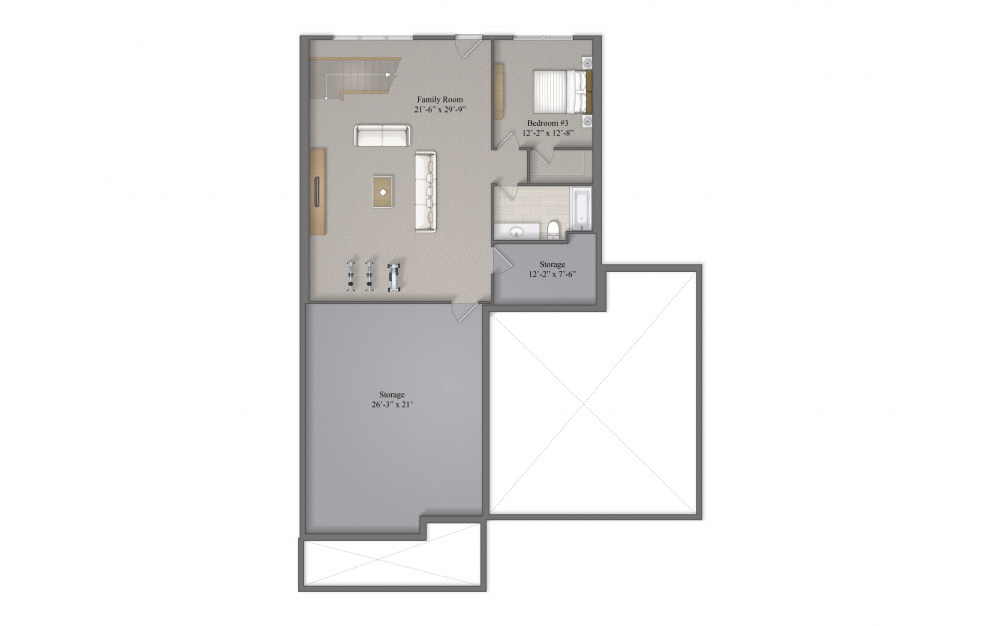 Harper Basement Layout At Beacon Ridge Single Family Rentals In Plymouth, MN