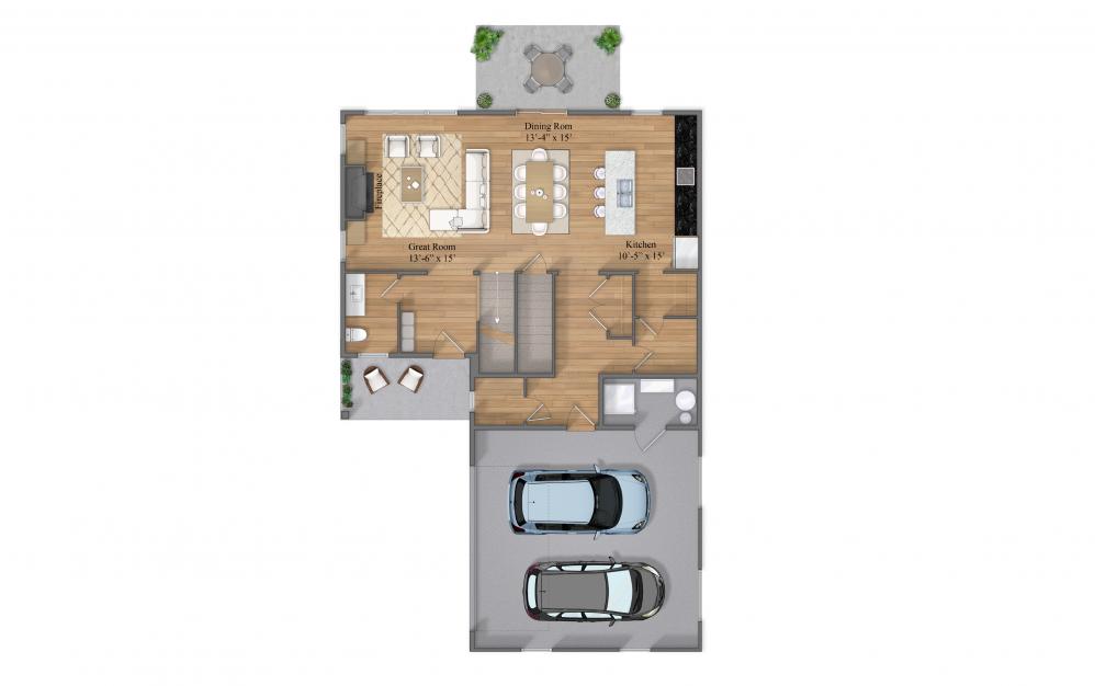 Thornton B Floor 1 Layout At Beacon Ridge Single Family Rentals In Plymouth, MN