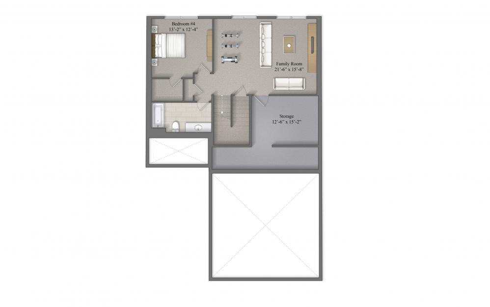 Thornton B Basement Layout At Beacon Ridge Single Family Rentals In Plymouth, MN